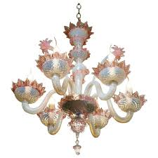 Blown Glass Chandeliers Sale Pink And White Murano Blown Glass Chandelier With Flowers Circa