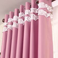 Ruffled Pink Curtains Creative Of Pink Ruffle Blackout Curtains Inspiration With Light