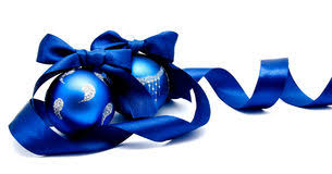 blue christmas two blue christmas balls with ribbon isolated stock image