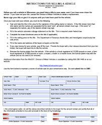 Bill Of Sale Of Vehicle by Free Wisconsin Dmv Vehicle Bill Of Sale Form Pdf Word Doc