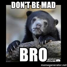 Dont Be Mad Meme - don t be mad bro sad bear meme generator