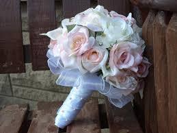 wedding flowers budget 17 pc blush pink and white silk bridal bouquet silk wedding