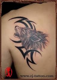 tribal wolf on back