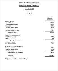 Consolidated Balance Sheet Template Sle Balance Sheets In Pdf 7 Exles In Word Pdf