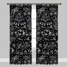 Curtain Tattoo Rockabilly Hand Drawn Tattoo Curtains Or Sheers Ink And Rags