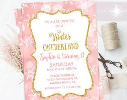snowflake invitation winter onederland gold and pink