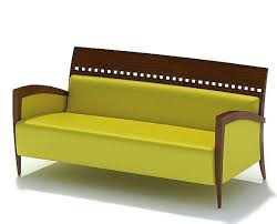 3d model yellow sofa with a wooden frame cgtrader