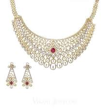 diamond set 14 89 ct diamond bridal necklace and earrings set in 18k yellow