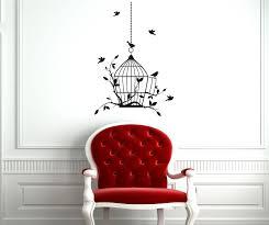 open birdcage with bird s vinyl wall art stickers