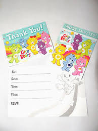 baby care bears 8 paper invitations u0026 notes bithday