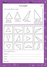 triangles math practice worksheet grade 5 teachervision