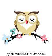 vector vector owl bird on tree branch