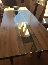 Live Edge Conference Table 8ft Reverse Live Edge Maple Table With Clear Glass Inlay Custom 4