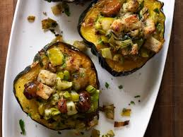 baked acorn squash with chestnuts apples and leeks recipe