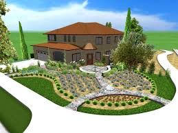 front yard landscape ideas backyard with green grass and wooden