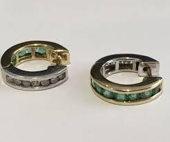 10k earrings 10k yellow white gold diamond emerald hoop earrings