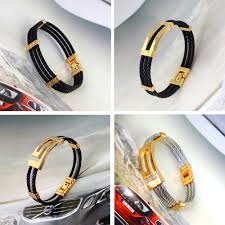 silver gold bracelet bangle images Top design six style unisex jewelry silver gold black cable wire jpg