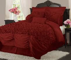 Red And Cream Duvet Cover Bedroom Cream Ruched Duvet Cover With Wainscoting And Wooden