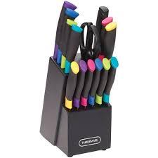 farberware kitchen knives farberware 15 colorful grip knife set walmart com