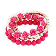 rose bead bracelet images Buy ariette jewels pink monalisa rose beads bracelet lis1 online jpg