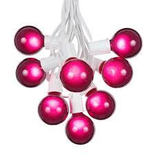 purple g50 globe round outdoor string light set on white wire