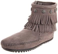 minnetonka double fringe side zip boot womens boots grey 7 uk