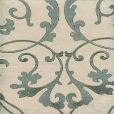 Geometric Drapery Fabric Cemb 94 Greige Aqua Blue Geometric Floral Cotton Canvas