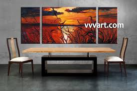 triptych red canvas ocean sunset oil paintings wall art