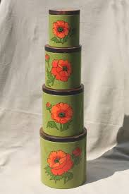 vintage ransburg kitchen canisters set red poppies on olive green