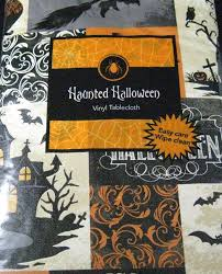 amazon com haunted halloween flannel back vinyl tablecloth by