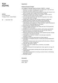 business systems analyst resume sample velvet jobs