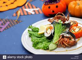 halloween crab spider roll maki sushi made of soft shell crab tempura and sushi