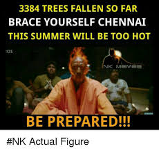 Brace Meme - 3384 trees fallen so far brace yourself chennai this summer will