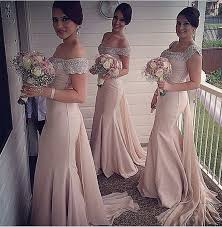 blush colored bridesmaid dress new arrival the shoulder bridesmaid dresses beading bodice