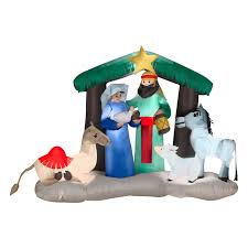 Home Depot Inflatable Christmas Decorations Gemmy Airblown Nativity Scene Inflatable Walmart Com