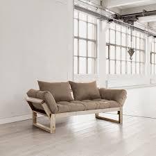 canap futon pas cher karup canapé convertible edge 180 cm bois naturel futon taupe