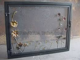 Single Fireplace Screen by Perpetua Iron Fire Screens Custom Made To Fit Your Fireplace
