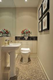 Powder Room With Pedestal Sink Downstairs Toilet Powder Room Transitional With Tiled Floor