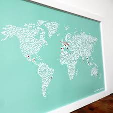 Large Map Of The World Large Teal Map Of The World With Heart Stickers By Witty Hearts