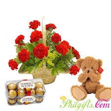 basket arrangements philgifts carnation basket arrangement to philippines order