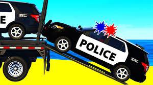 police suv cars transportation in spiderman cartoon for children