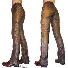 ladies brown biker boots deluxe plus size pencil pants women and pu patchwork loose lear