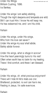 hymn and gospel song lyrics for his wings by william cushing