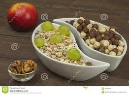 healthy diet breakfast of oatmeal cereal and fruit foods full of