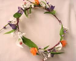 hair wreath tropical bridal headpiece orange purple flower hair wreath