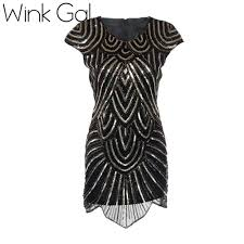 wink gal black sequined dress bodycon vintage 1920s cocktail party