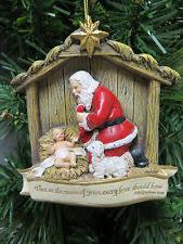 santa kneeling at the manger santa kneeling jesus ebay