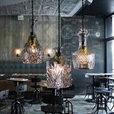 Bar Light Fixtures Vintage Glass Bottle Pendant Light Restaurant Bar Hanging Lamp