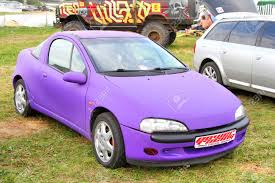 opel purple moscow russia july 6 german motor car opel tigra exhibited