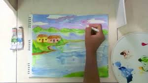 scenery painting for kids in simple steps youtube